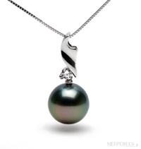 Pendentif or gris, diamant et perles de Tahiti