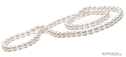 Collier de perles de cultur d'eau douce blanches, collection NETPERLES