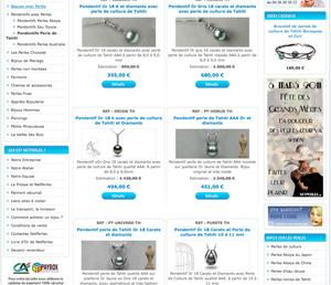 vitrine de site de vente en ligne de bijoux de perles de tahiti