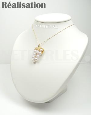 Bijou Or 18 carats et Perles Akoya du Japon - grappe de raisin - bijou NETPERLES