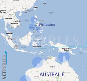 Carte des zones ou se trouvent les fermes de perlicultures des perles dorées
