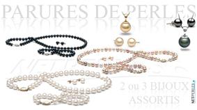 Parures de perles de culture - trois bijoux - tous les types de perles