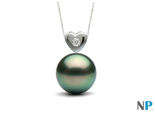 Pendentif Coeur avec perle de Tahiti